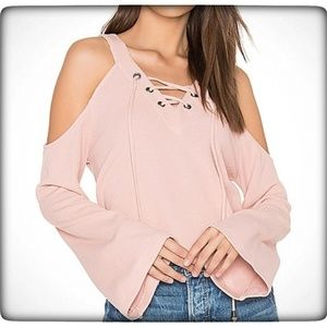 J.O.A. Pink Cut Out Shoulder, Lace Up Top Size Med